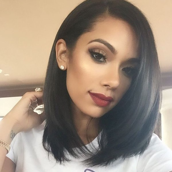 Full lace wig glueless human hair lace front short bob wigs for black women Unprocesseed Malaysian hair wig with side bangs