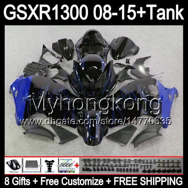 8gifts For SUZUKI Hayabusa GSXR1300 2008 2009 2010 2011 14MY187 blue flames GSXR-1300 GSX R1300 GSXR 1300 2012 2013 2014 2015 black Fairing