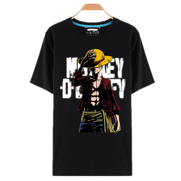 Wholesale- One Piece T Shirt Luffy Straw Hat Japanese Anime T Shirts O-neck Black T-shirt For Men Anime Design One Piece T-shirt camisetas