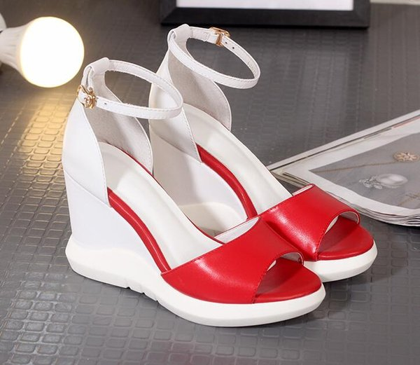 Wedge sandals female European station 2017 summer new leather high-heeled pointed toe type buckle sexy sandals