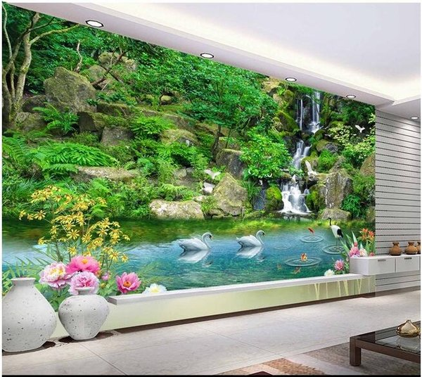 3d room wallpaper custom photo mural Mountain Creek parallel swan decoration painting picture 3d wall murals wallpaper for walls 3 d