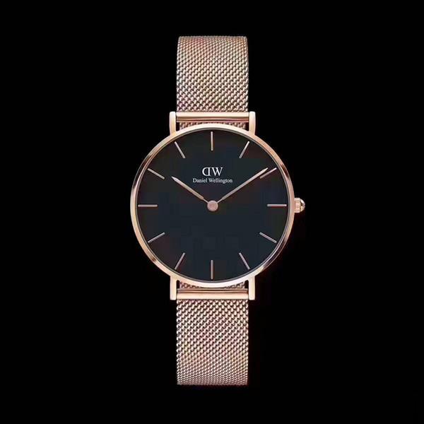 2017 en lüks marka Daniel kadın erkek saatler moda deri stil 40mm gül hediye relojes ile altın erkek saatler yükseldi