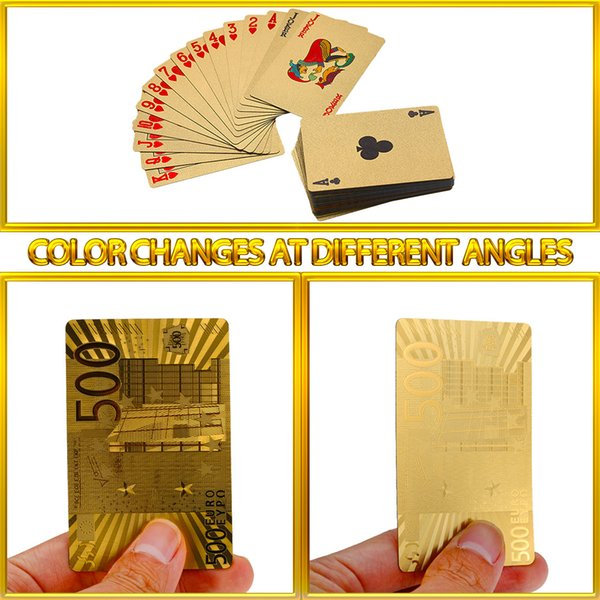 54pcs Original Waterproof Luxury Gold Foil Plated Poker Premium Matte Plastic Board Games Playing Cards For Gift Collection