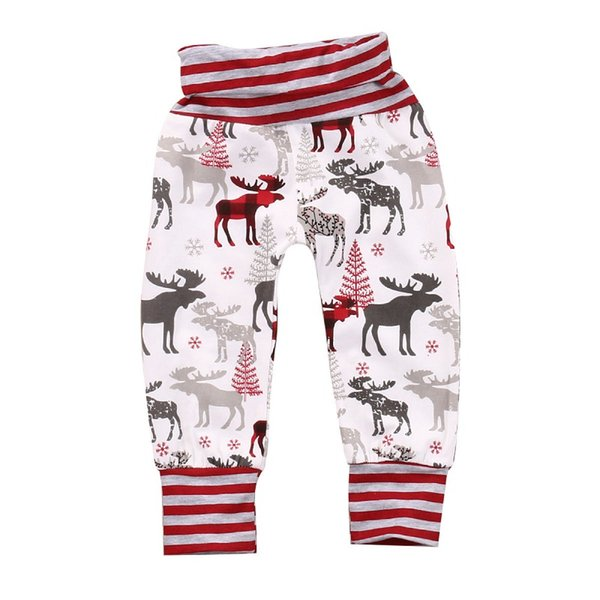 Newborn baby little girls Boys autumn pants Mother Daughter Xmas Red Reindeer Leggings Slim Trousers infant kidswear clothes free shipping