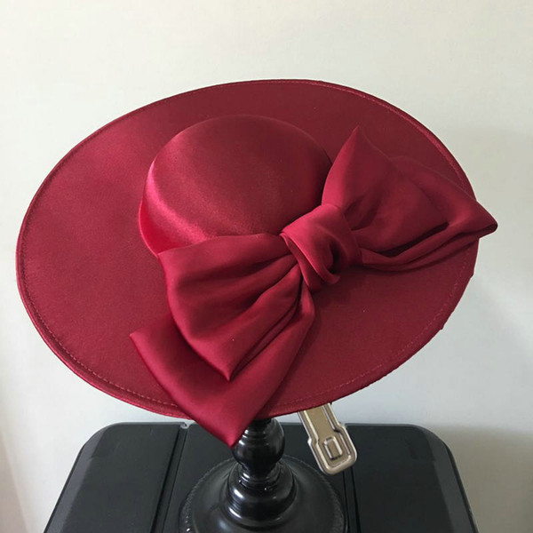 Woman headdress hair Wine red satin bow face photo studio retro French hat hair ornaments bride wedding dress accessories