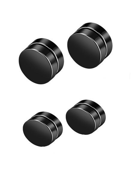 2 pares de acero inoxidable de acrílico círculo redondo pendientes magnéticos para los hombres Studs enchufes no piercings Clip en la niña calibradores para los oídos