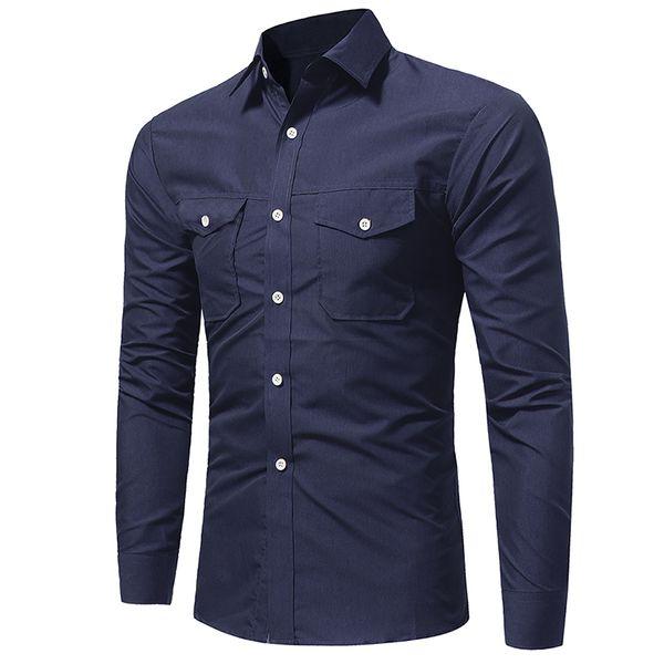 Mens moda clothing new designer camisa com bolso duplo homens manga comprida slim fit camisa de vestido lx4201 executar pequeno