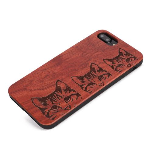 U&I ®For Apple IPhone wooden phone case cute cat style TPU mobile phone accessories Hot Sales