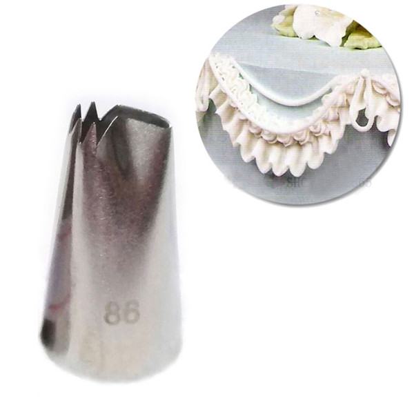 Wholesale- #86 Fold Cream Metal Tips Stainless Steel Icing Piping Nozzles Cake Decorating Pastry Tools Cupcake