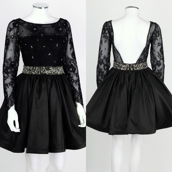 Sexy Short Cocktail Dresses Little Black Dress Sheer Bateau Neckline Illusion Lace Lace Sleeves Beads Belt Backless Formal Guest Dress