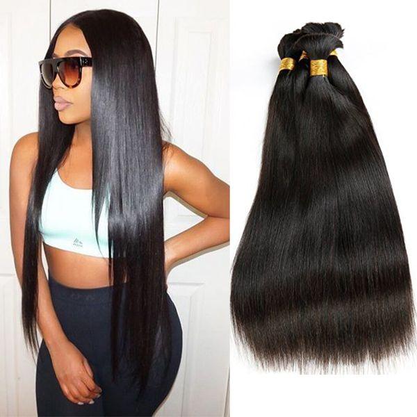 top popular Indian Remy Human Hair Bulk No Weft Straight Bulk Braiding Hair Extensions Unprocessed Human Hair 3pcs Lot Natural Color 2019