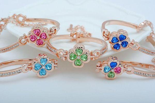 Brand new Four Seasons of Love Clover Petals Bracelet Crystal Bracelet FB511 mix order 20 pieces a lot Slap & Snap Bracelets