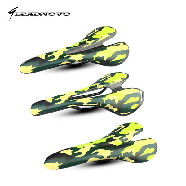 New leather +carbon saddle full Carbon Fiber Bicycle Saddle Bike Seat super light Ellipse arch camouflage color
