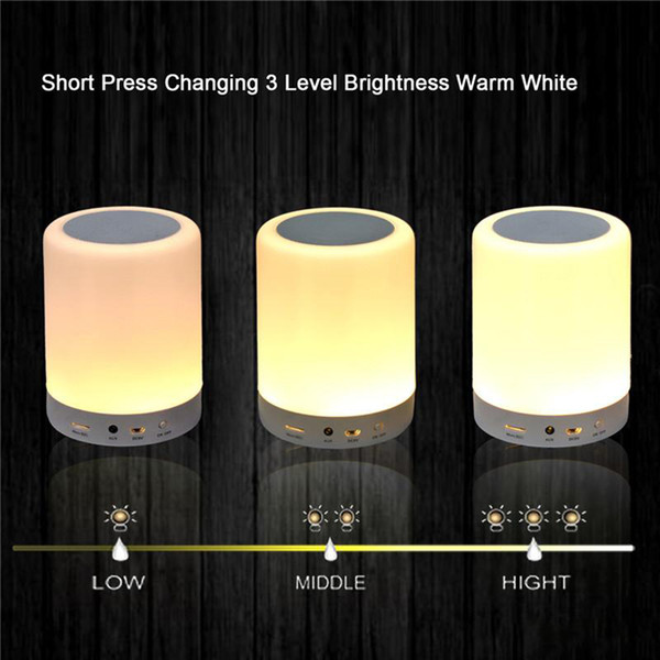 7 Color LED Light Bluetooth Speakers Portable Wireless Music Speaker Smart Touch Control Color LED Bedside Table Lamp Speakerphone TF Card