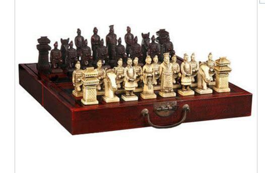 decoration bronze factory Pure Brass Antique (32 Pieces) Classical Wooden Manual Terracotta Warriors Chess , With Red Box