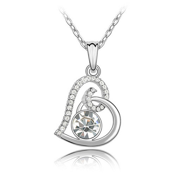 Hot selling white gold color fashion heart design pendant necklace made with Swarovski elements crystal best Valentine's Day jewelry gift