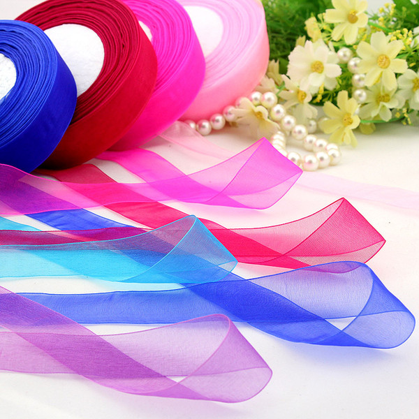 Cotton 15mm 50 Yard/Rolls 44M Transparent Silk Organza Polyester Ribbon For Wedding Party Decoration Webbing Gift Packing Belt