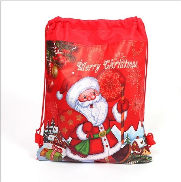 Santa Claus Drawstring Bags 34x27cm Non Woven Double Printed Sling Bag Kids Toy Storage Bags Schoolbag Gift for Girls Party Birthday NEW