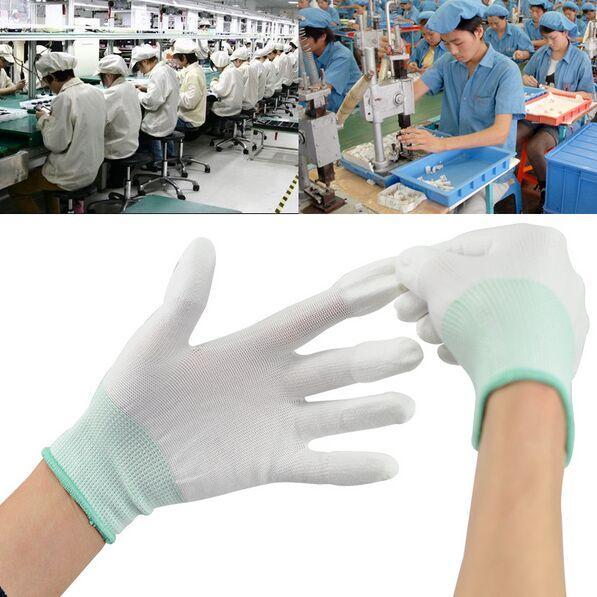 12 pares de guantes recubiertos de PU guantes de nylon recubiertos guantes limpios de punto / guantes antiestáticos para protección de dedos