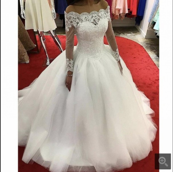 Modest Lace Wedding Dresses Sleeves Off the Shoulder Ball Gown Bridal Dress China Custom Made Wedding Gowns for Women CHeap
