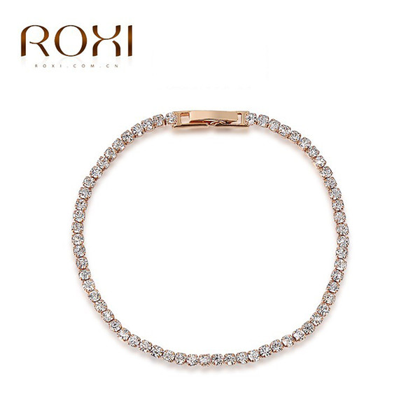 ROXI Simple Crystal Designer Austrian Rhinestones Gold Plated Charm Bracelets Chain Lobster Jewelry for Men Chritmas Gift