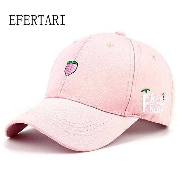 Wholesale- 2017 New Arrival Spring Leisure Fresh Fruit Embroidery snapback Hat Strawberry Banana Cherry Orange Peach Baseball Cap For Women
