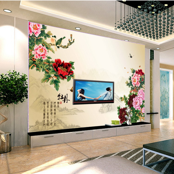 Chinese style flower and bird painting peony flower Art customized waterproof photo vintage Mural 3d wallpaper bedroom office