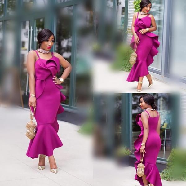 African Spaghetti Prom Dresses 2018 Fushia Satin Mermaid Evening Gowns Ruffles Plus Size Mermaid Formal Party Dress Custom Made