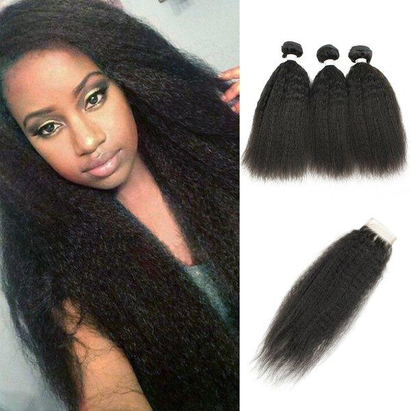 Alta calidad 9A Remy Hair 3 Bundles con cierre Yaki Straight Raw Virgin Indian Hair Afro Rizado rizado extensiones de cabello humano sin procesar