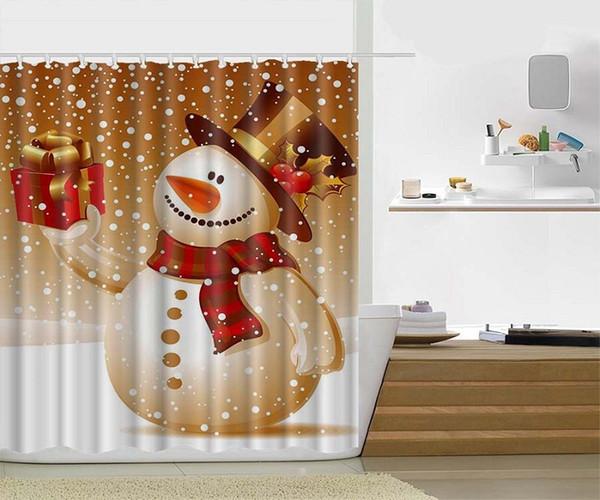 Acquista pupazzo di neve buon natale tenda da doccia tessuto in