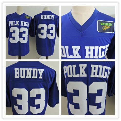 Cheap Mens Married with Children Movie Ed O'Neill #33 Al Bundy Royal Blue Stitched The film Polk High Patch Football Jerseys Size 4XL