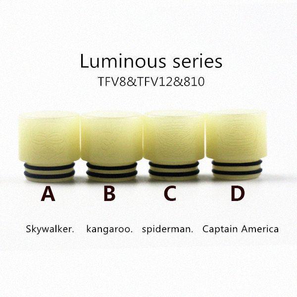 810 thread luminous series drip tips skywalker spiderman captain america 510 noctilucent drip tip skull scorption cheap plastic mouthpiece