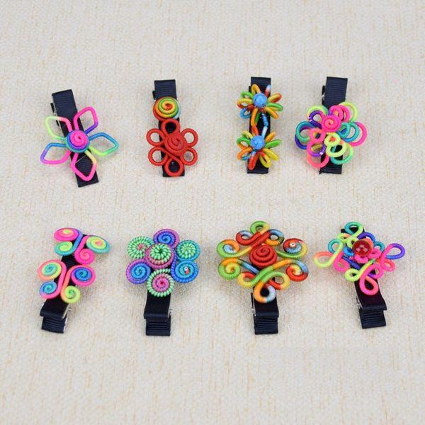 Wholesale - National wind hair clip handmade hair clip small bell handmade cloth flower hairpin Hair Barrettes CA189