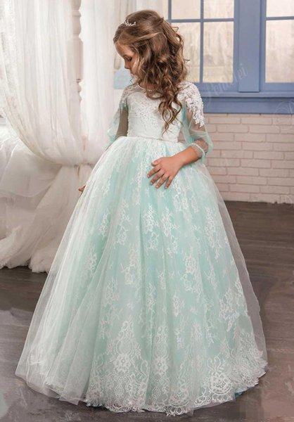 2017 Romantic Mint Green Flower Girl Dress for Weddings Tulle with Lace Open Back Ball Gown First Communion Dresses for Girls