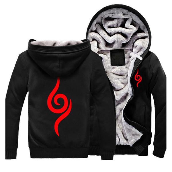 Atacado- Homens Hoodies Inverno Naruto Hoodie Cosplay Traje Preto Casaco Outono Moletom Fleece Outwear Uniforme Halloween