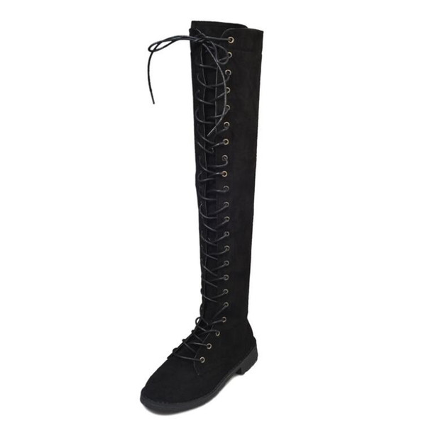 2017 Women Long Boots Over The Knee Boots Lace Up Sexy Low Heels Women Shoes Flock Black Winter Warm Shoes Size 40