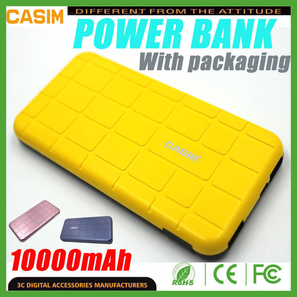 CASIM Power Bank 2 USB 10000mAh 2.1A Power Bank Phone Chargers SUEGE Series For iphone Samsung S8 S8 Plus CellPhone With Packaging