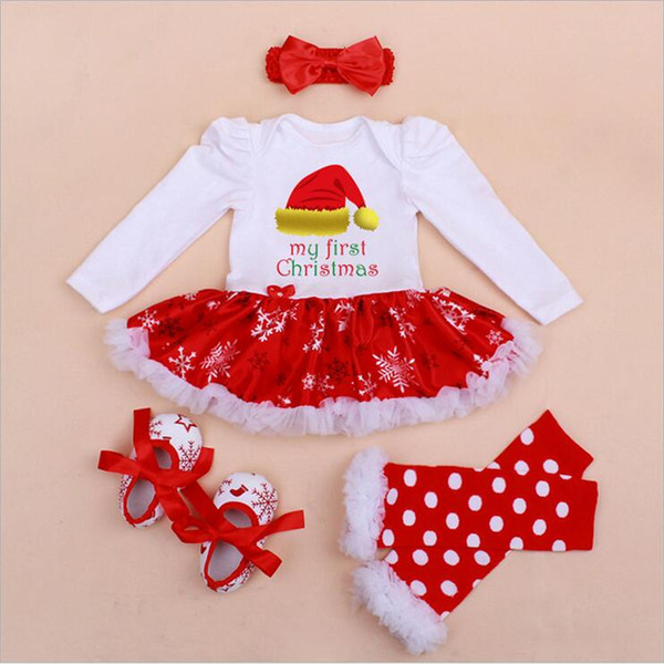 wholesale my first christmas costumes 4pcs infant toddler baby girls christmas outfits newborn christmas romper set