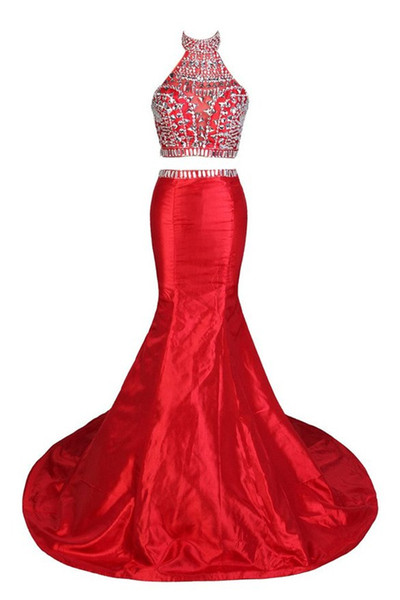 Two Piece Prom Dresses 2017 Vestidos Do Baile De Finalistas Sexy Halter Backless Red Mermaid Evening Dress
