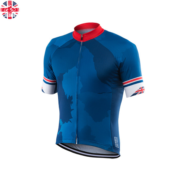 Personnalisé NOUVEAU Hot 2017 UK vtt route RACE Team Bike Pro Cyclisme Jersey / Chemises Tops Vêtements Respiration Air JIASHUO