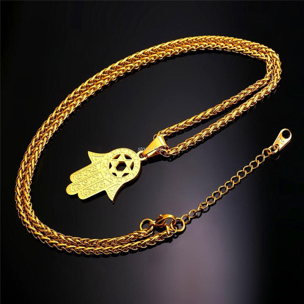 New Hand of Miriam Jewelry Star of David Israel Pendant Gift Trendy Stainless Steel Amulet Charm Hamsa Hand Necklaces P934