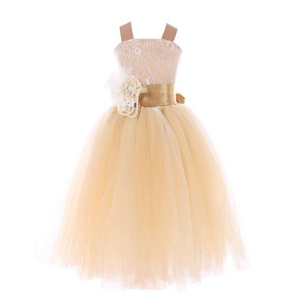 Children Birthday kids Gift Wedding evening Party Festival lace veil Spring Summer princess flower girls dress ball gown