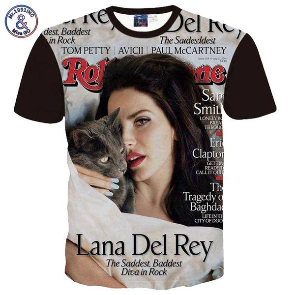 Mr.1991INC Lana Del Rey Impreso Hombres / Mujeres camiseta de manga corta 3d camiseta de moda verano tops estrella famosa camiseta gráfica A2