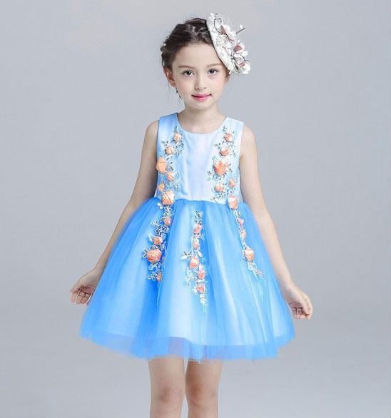 Verano 2017 Vestido de fiesta de cumpleaños 4-12T Color azul Princesa de las niñas vestido para la boda Ropa de niños para niñas adolescentes