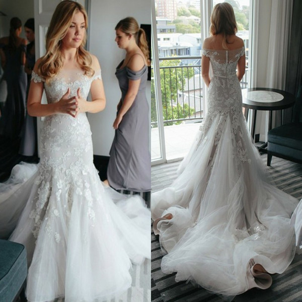 Delicate Tiered Layered Mermaid Wedding Dresses High Quality 2017 Sexy Sheer Backless Appliqued Long Train Bridal Gowns Off the Shoulders