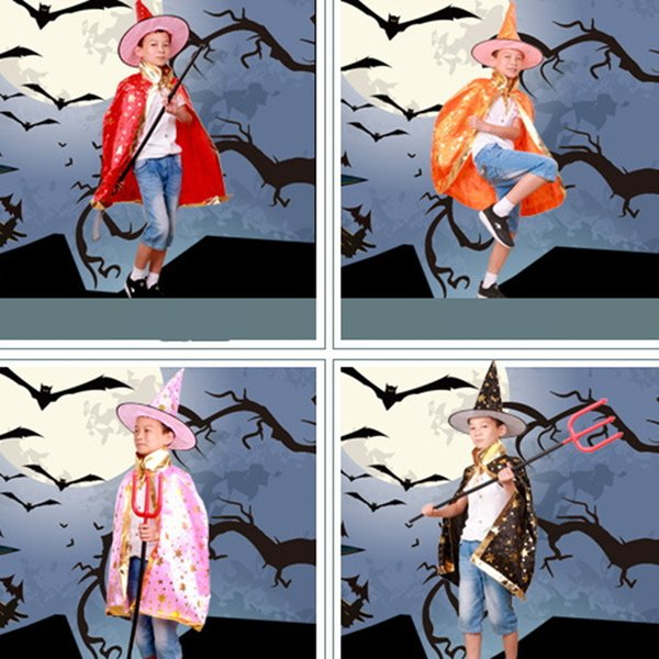 Halloween Cloak Cap Fancy Dress Children Costumes Witch Wizard Gown Robe and Hats Cosplay Prop for Children Costume Cape Kids Party