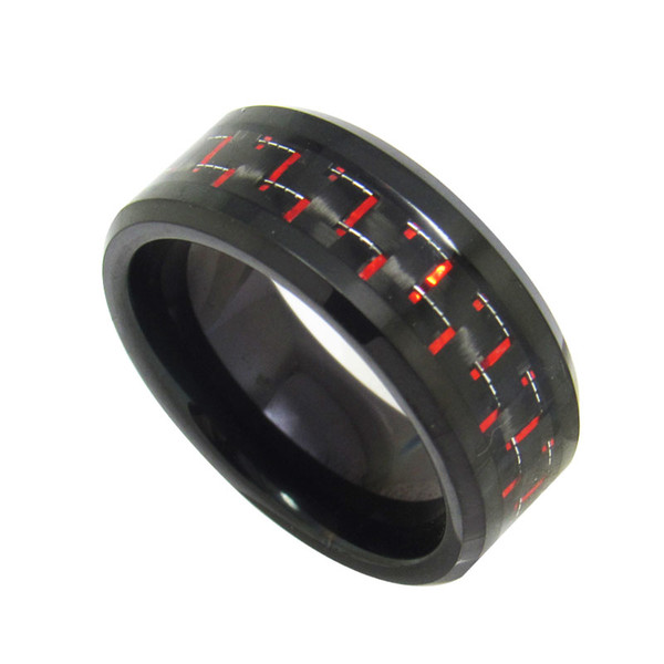 Hot sales Mens 8mm Black Tungsten Carbide Ring beveled edges with black and RED carbon fiber inlay popular and fashion jewelry finger ring
