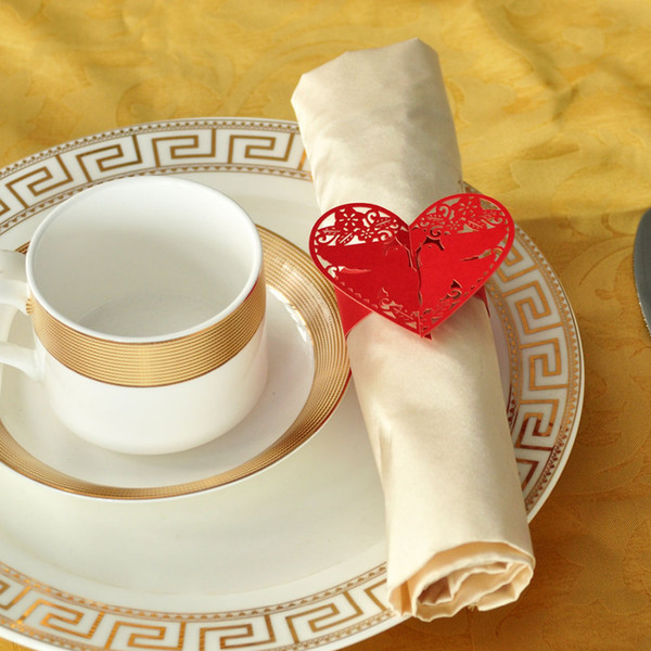 Wholesale- 60pcs/lot Napkin Rings Wedding Favors Red Pigeon Shaped Design Holder For Table Decoration