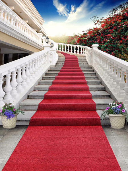 Outdoor Staircase Wedding Backdrops Red Carpet Blue Sky Red Flowers Scenic Backdrop Photography Studio Backgrounds Vinyl Cloth
