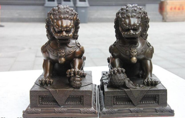 Cina Pure Copper Bronze Guardian Male bestia Foo Fu Dog Porta Lion Scultura coppia